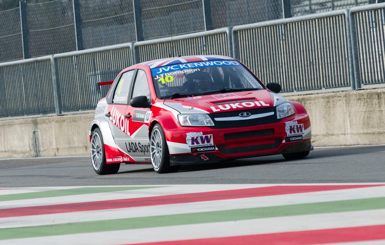 Photo wallpaper track, Italy, race, Lada, racer, champion, practice, Granta, racing car, WTCC, Monza, Lada Lukoil Sport, …