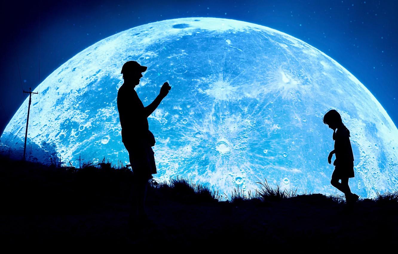 Photo wallpaper night, fantasy, the moon, photographer, girl, silhouettes, child