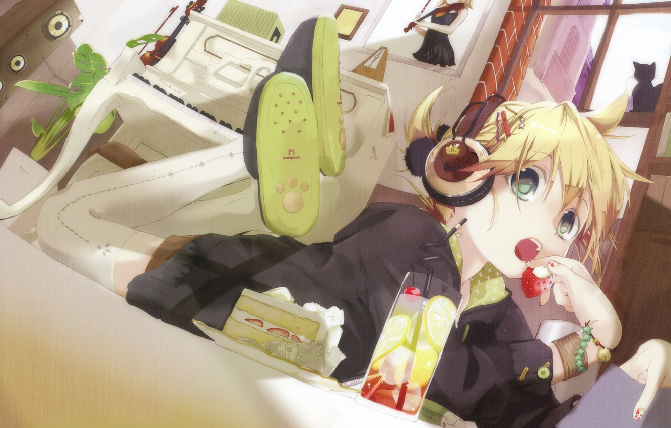 Photo wallpaper girl, vocaloid, kagamine rin, headphones, kagamine len, hekicha