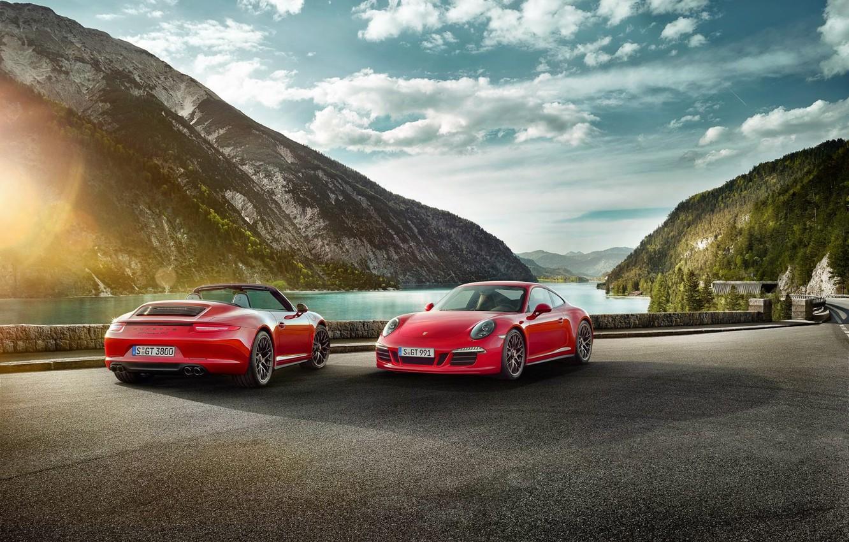 Photo wallpaper 911, Porsche, Red, Car, Clouds, Sky, Sun, Carrera, Sports, GTS, 2015
