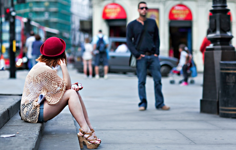 Photo wallpaper girl, the city, street