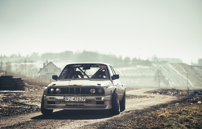 Photo wallpaper BMW, Drift, Car, Front, Sun, E30, Road, Silver, Ligth