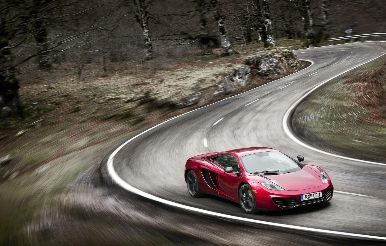 Photo wallpaper road, speed, blur, turn, sports car, McLaren MP4-12C