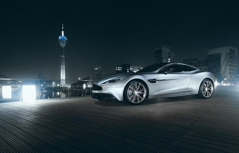 Photo wallpaper Aston Martin, City, V12, Supercar, Vanquish, Tower, Nigth