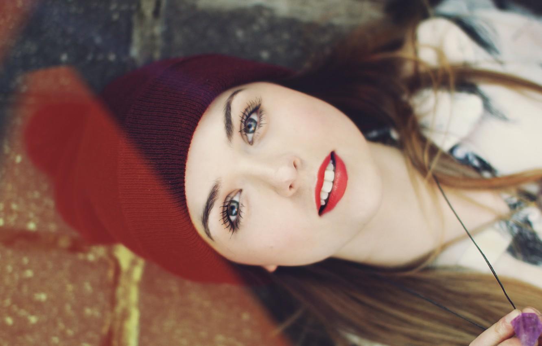 Photo wallpaper eyes, look, girl, face, eyelashes, background, widescreen, Wallpaper, mood, hat, blur, teeth, makeup, lipstick, lips, …