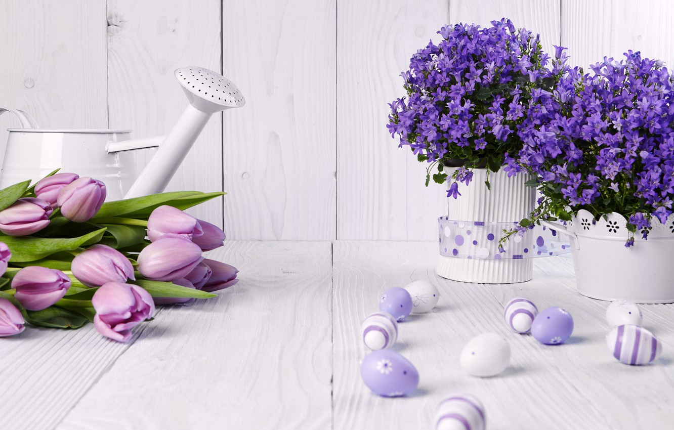 Photo wallpaper photo, Flowers, Tulips, Easter, Eggs, Vase, Bells, Holiday