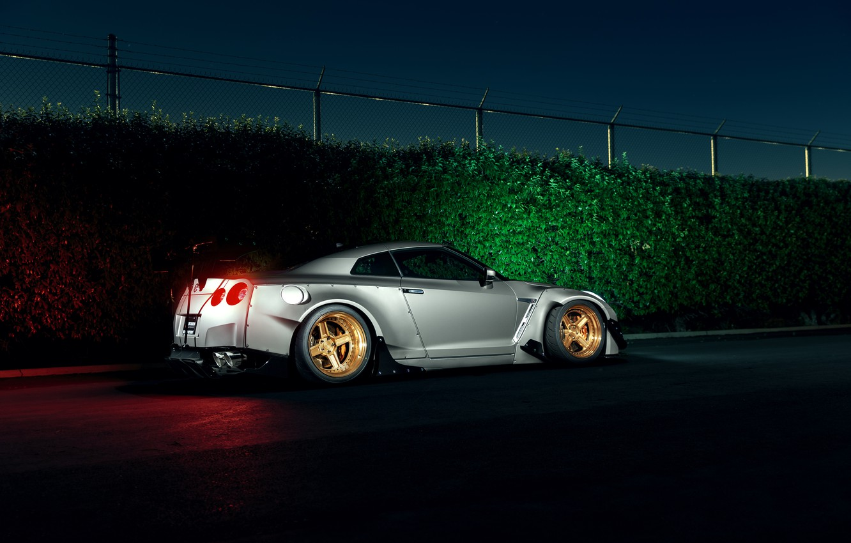 Photo wallpaper Dark, Light, Nissan, GT-R, Car, Sport, Low, Rear, Stancenation