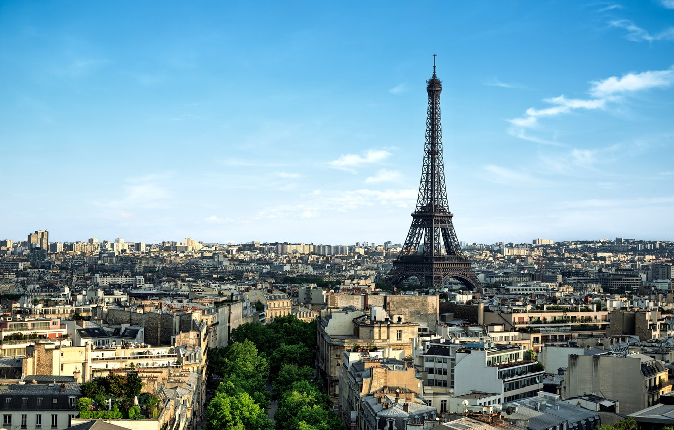Photo wallpaper trees, the city, France, Paris, building, home, morning, panorama, Eiffel tower, Paris, architecture, France, La …