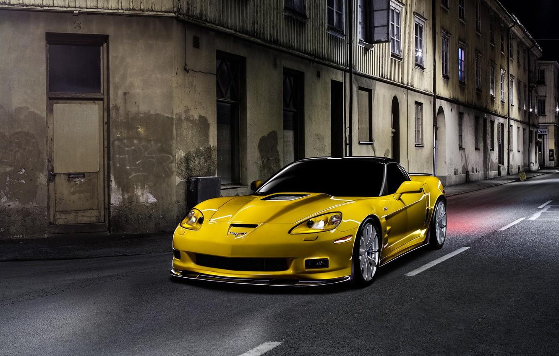 Photo wallpaper Corvette, Chevrolet, ZR1, Car, Night, Yellow
