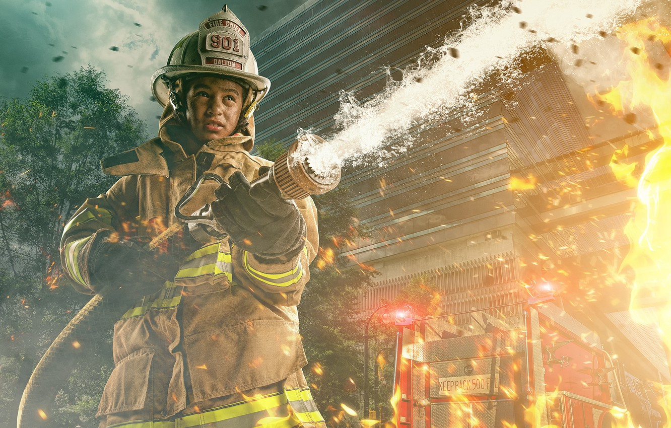 Photo wallpaper fire, fire, firefighter
