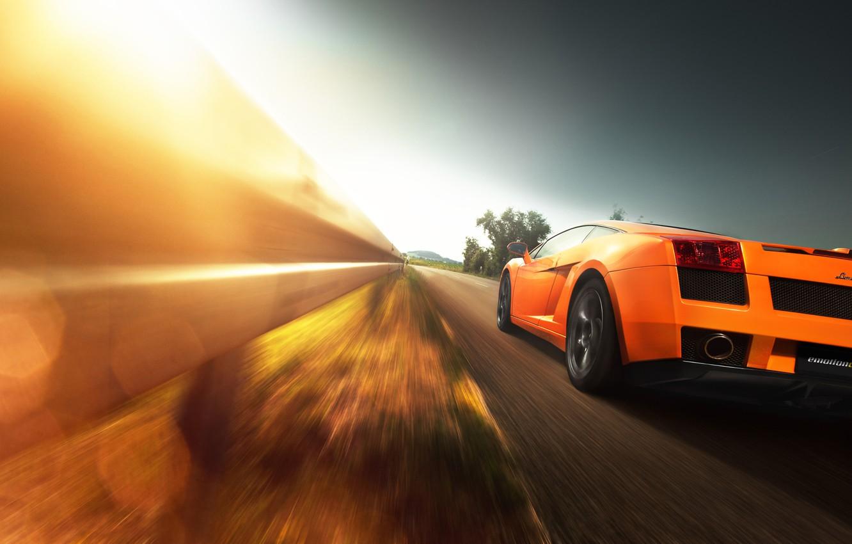 Photo wallpaper Lamborghini, Gallardo, sunset, orange, Christian Motzek