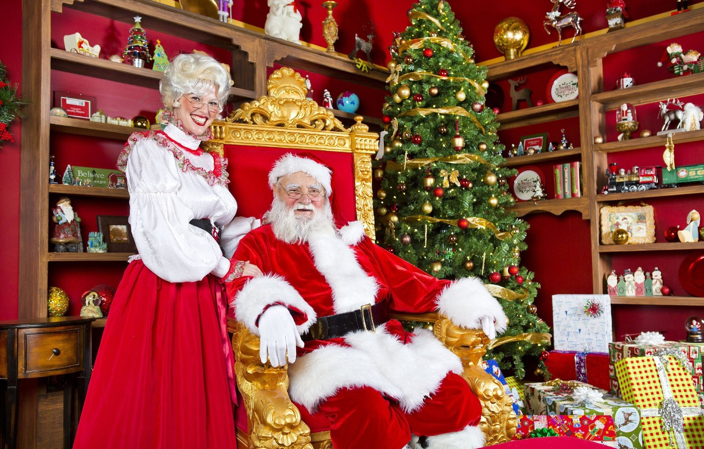 Photo wallpaper tree, gifts, Santa Claus