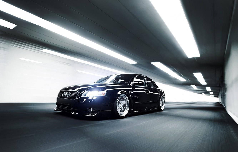 Photo wallpaper Audi, Audi, speed, black, the tunnel, black, front