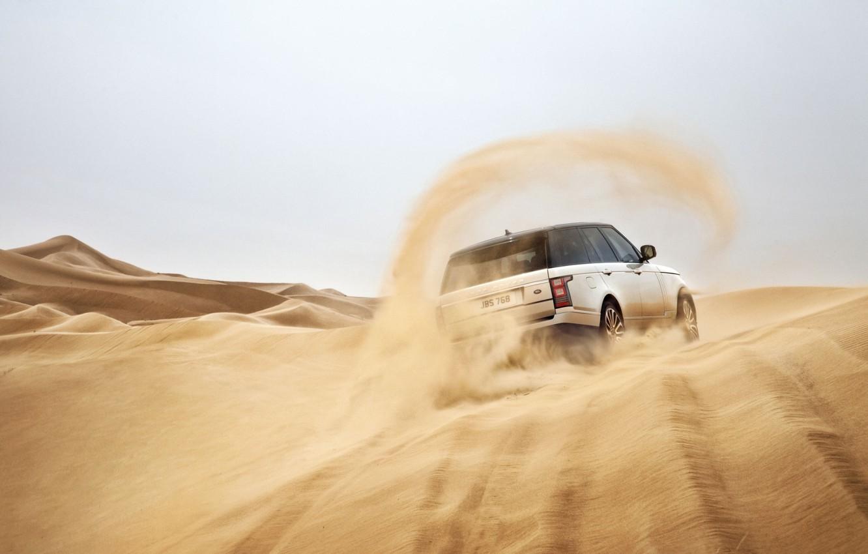 Photo wallpaper sand, Land Rover, Range Rover, rear view, Land Rover, Range Rover
