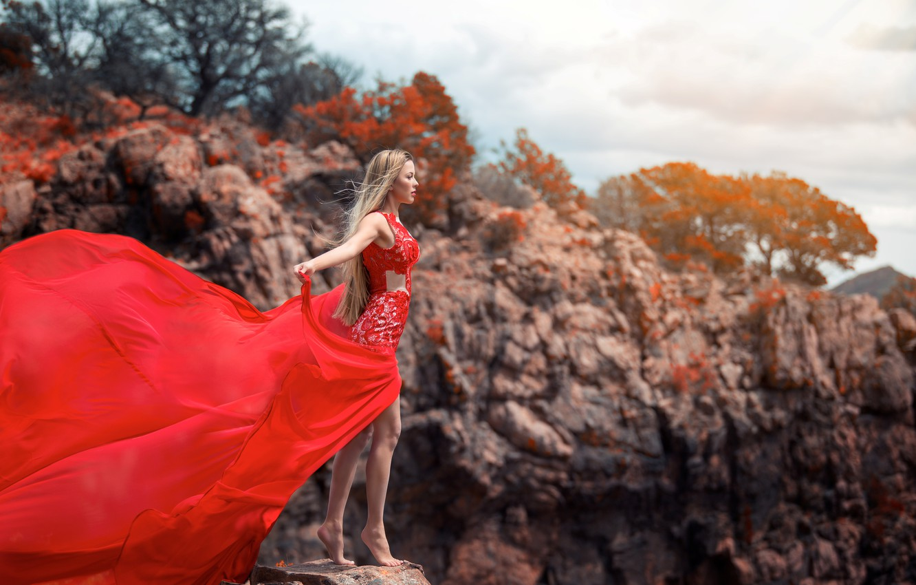 Photo wallpaper girl, pose, the wind, dress, blonde, is
