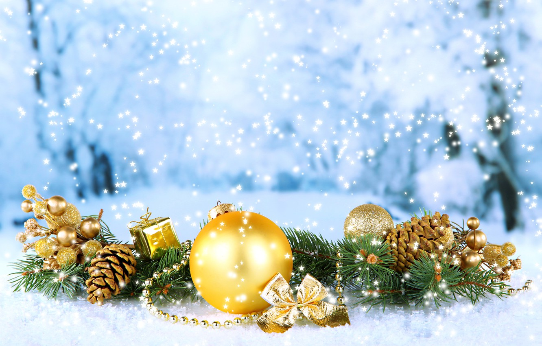 Photo wallpaper Snow, Branches, Balls, Snowflakes, New year, Holiday, Bumps