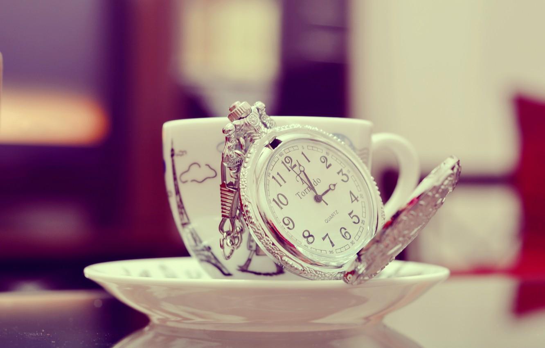 Photo wallpaper watch, figures, mug, Cup, saucer