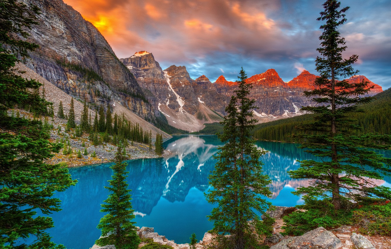 Wallpaper Trees Mountains Lake Reflection Canada Albert