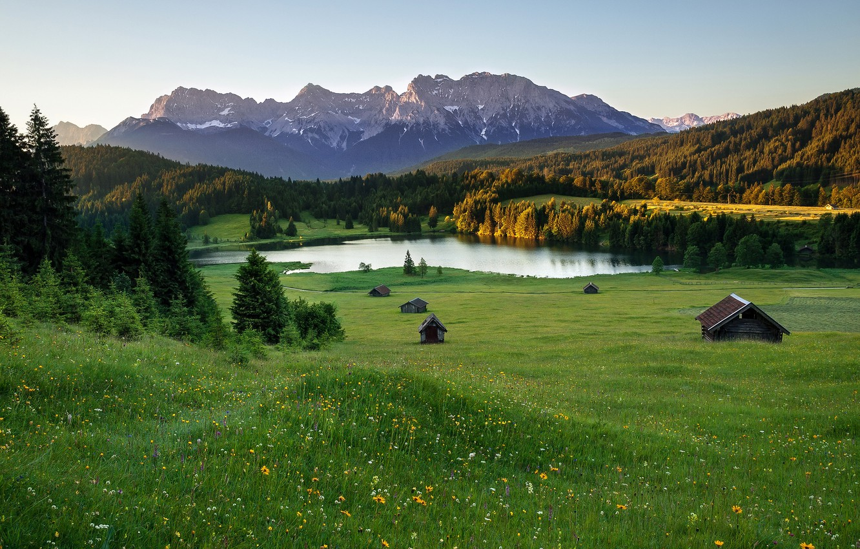 Photo wallpaper summer, mountains, lake, home, Alps, meadows