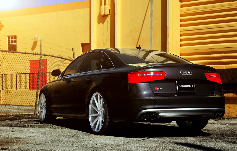 Photo wallpaper Audi, black, rear, vossen wheels
