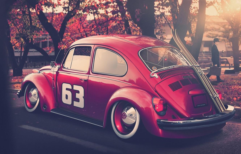 Photo wallpaper autumn, tuning, ski, beetle, volkswagen, Volkswagen, beetle