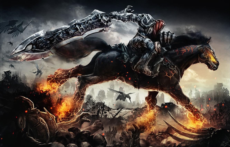 Photo wallpaper horse, rider, Darksiders