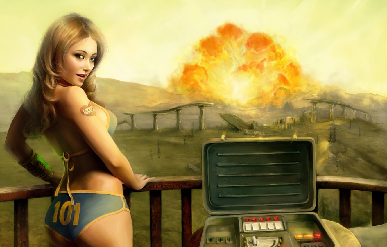 Photo wallpaper girl, the explosion, Fallout 3, tenpenny babe