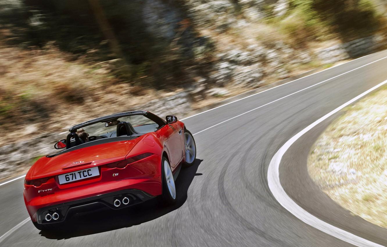 Photo wallpaper movement, Jaguar, red, convertible, red, rear view, jaguar, f-type