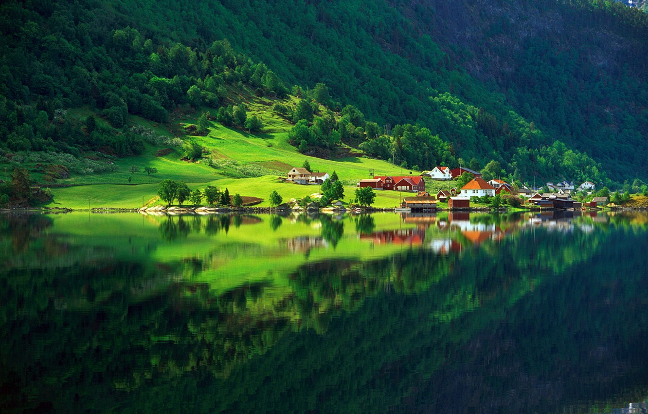 Photo wallpaper greens, forest, summer, lake, reflection, home, Nature, village