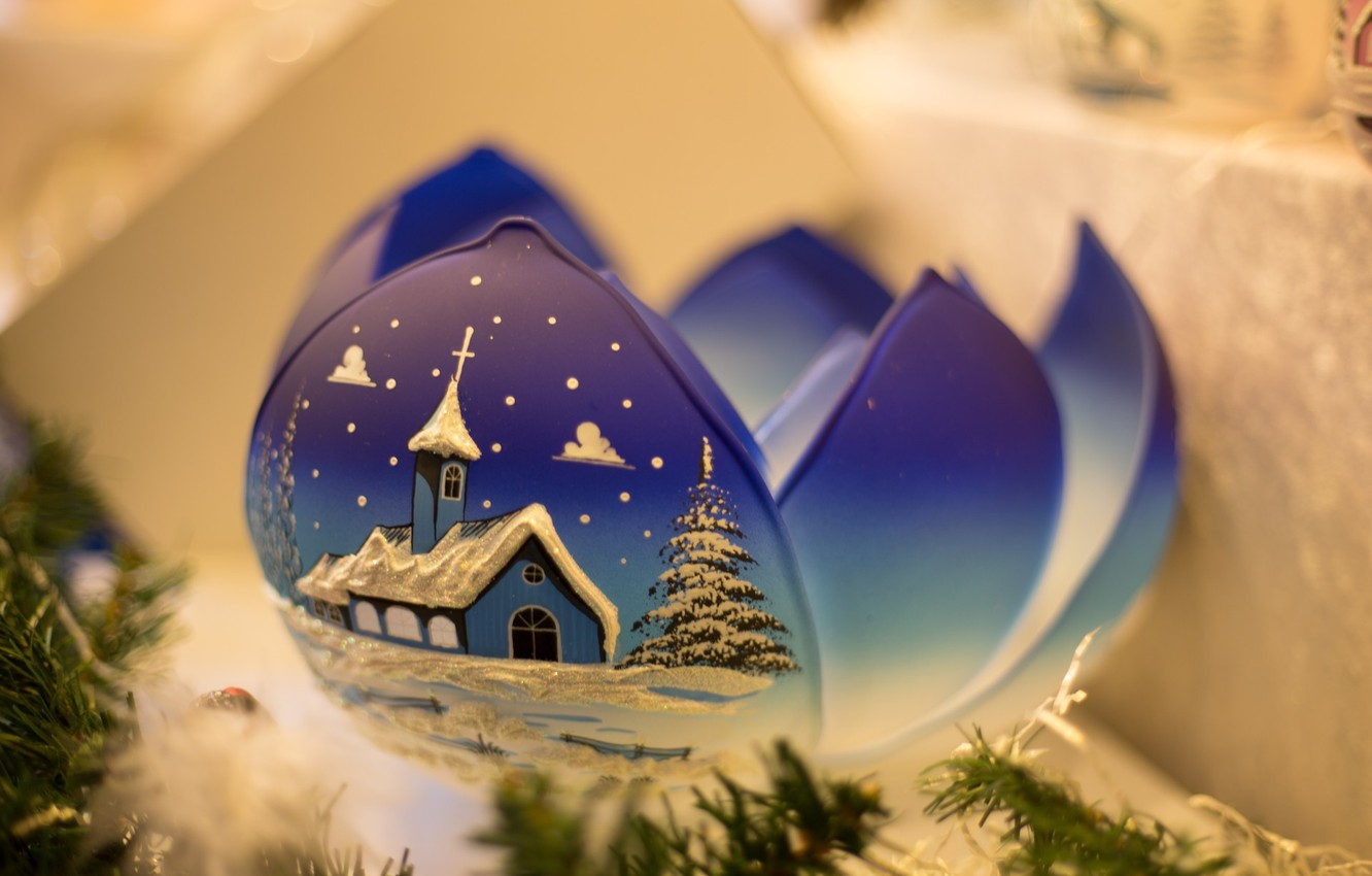 Photo wallpaper winter, blue, new year, ball, Christmas, petal, christmas, new year, blue, winter, ball, petal