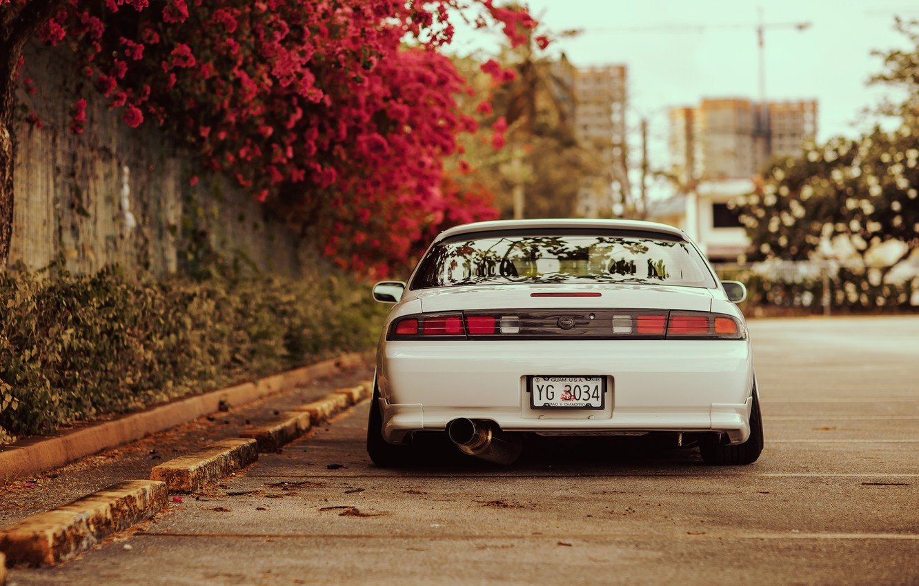Photo wallpaper flowers, tuning, back, white, Silvia, Nissan, white, Nissan, Sylvia, S14, stance
