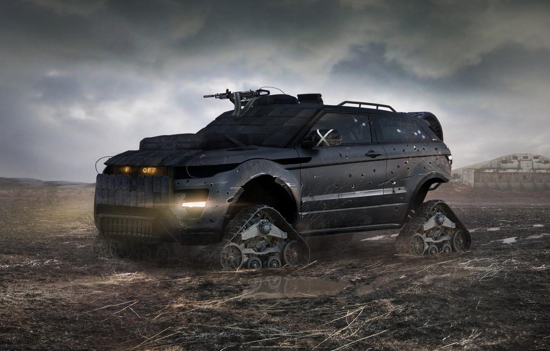 Photo wallpaper armor, Land Rover, Range Rover, postapokalipsis, caterpillar, machine gun, damage, Evoque