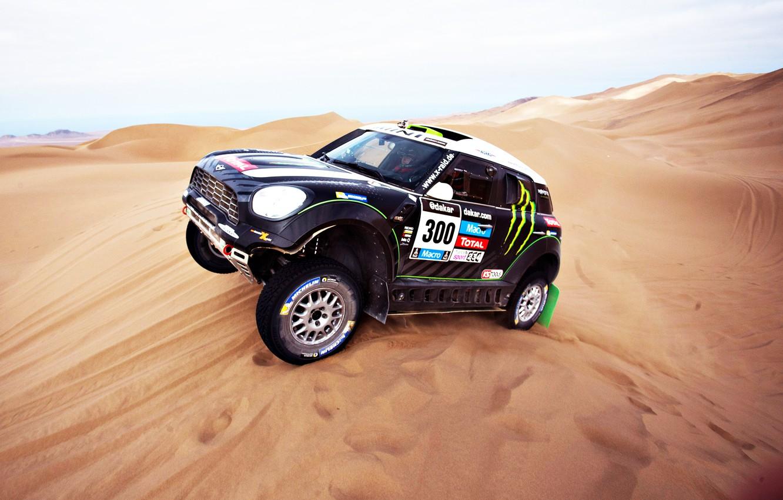 Photo wallpaper Sand, Auto, Mini, Sport, Machine, Day, Lights, Mini Cooper, Rally, Dakar, Mini, Dune