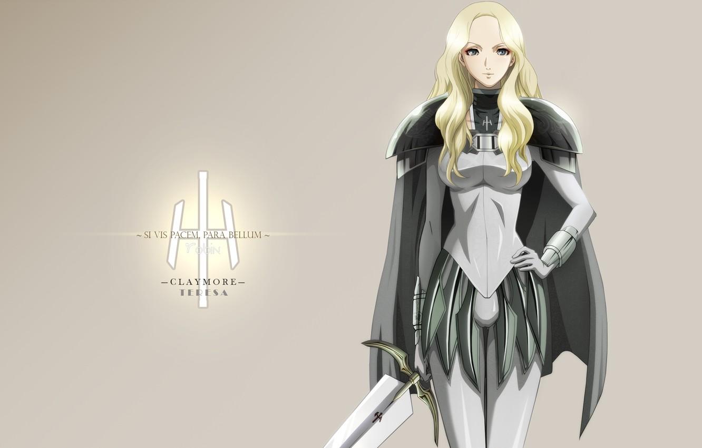 Photo wallpaper girl, weapons, sword, anime, warrior, blonde, Claymore, armor, Teresa, Teresa, Claymore