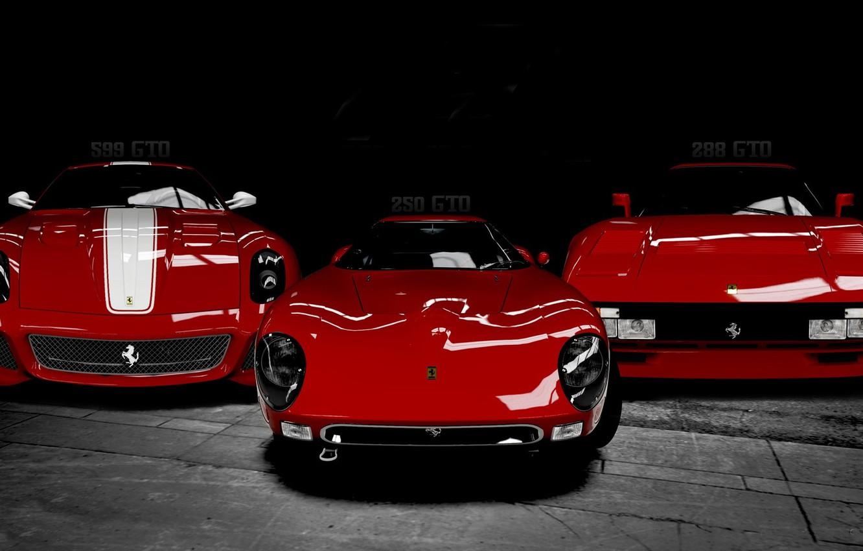 Photo wallpaper Ferrari, cars, Italy, models, Black and white, Triple