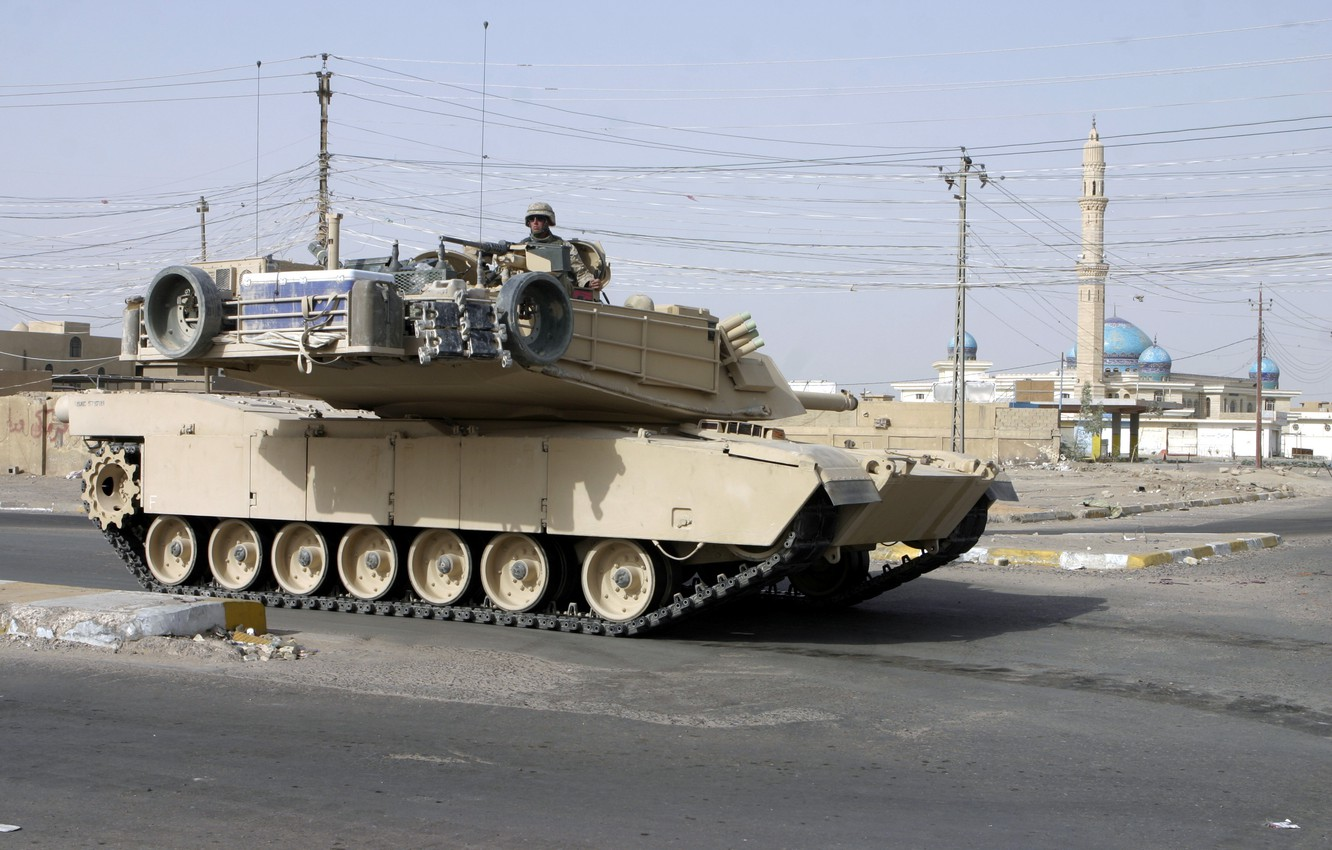 Photo wallpaper the city, soldiers, tank, usa, abrams