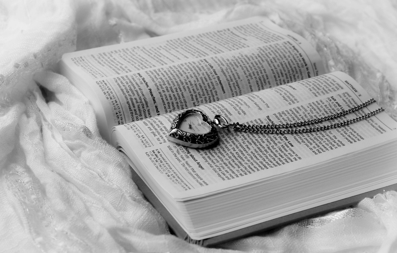 Photo wallpaper text, heart, watch, book, page
