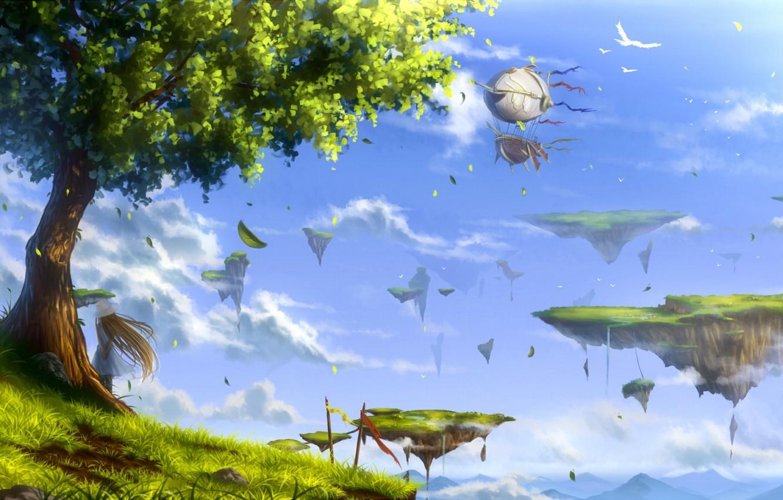 Wallpaper The Sky Girl Clouds Landscape Birds Nature