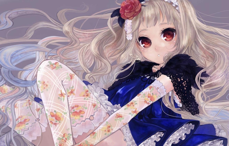 Photo wallpaper stockings, girl, sitting, knees, ruffles, flower in hair, big eyes, the Cape, long white hair