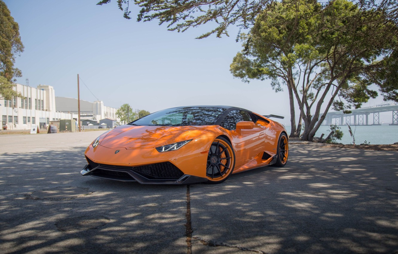 Photo wallpaper wheels, lamborghini, sea, tuning, power, front, orange, face, italy, LB724, huracan