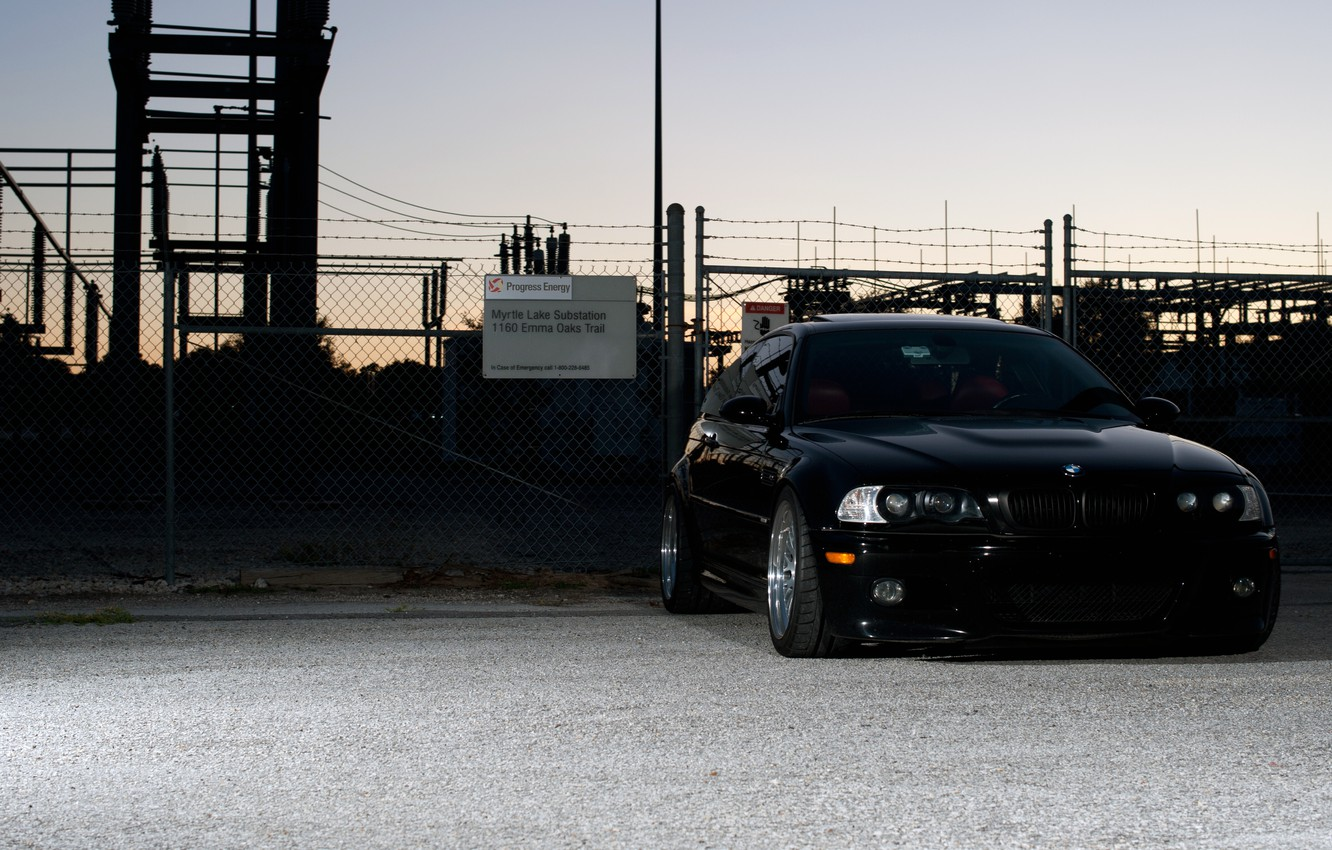 Photo wallpaper the sky, black, bmw, BMW, coupe, the evening, the fence, black, front view, tuning, substation, …