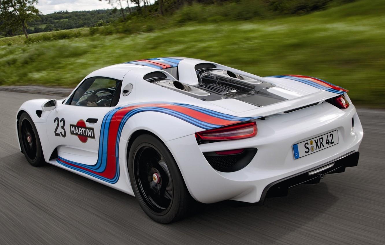 Photo wallpaper road, white, background, Prototype, Porsche, Martini, supercar, Porsche, rear view, Spyder, 918, Prototype, Spider, Martini