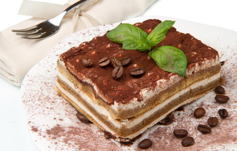 Photo wallpaper coffee, cake, plug, mint, cream, dessert, grain, tiramisu