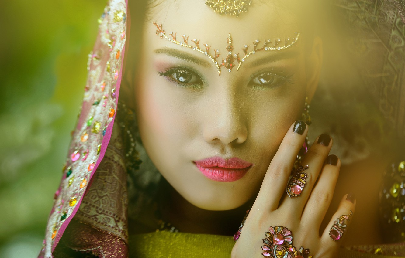 Photo wallpaper look, girl, decoration, face, background, hand, makeup