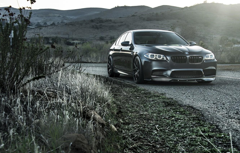 Photo wallpaper road, grass, black, bmw, turn, BMW, black, front view, roadside, f10