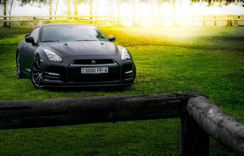 Photo wallpaper GTR, Japan, Nissan, Car, Front, Black, Sun, Matte, R35, Sport, Summer, Forest, Farm