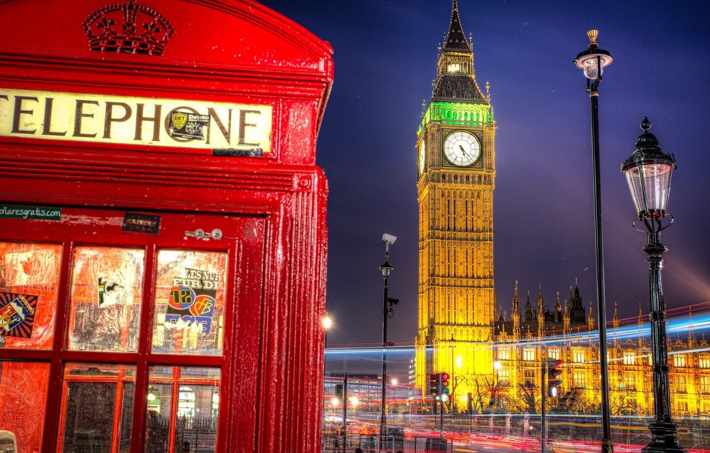 Photo wallpaper road, night, the city, England, London, excerpt, lighting, lantern, UK, Big Ben, booth, phone, The …