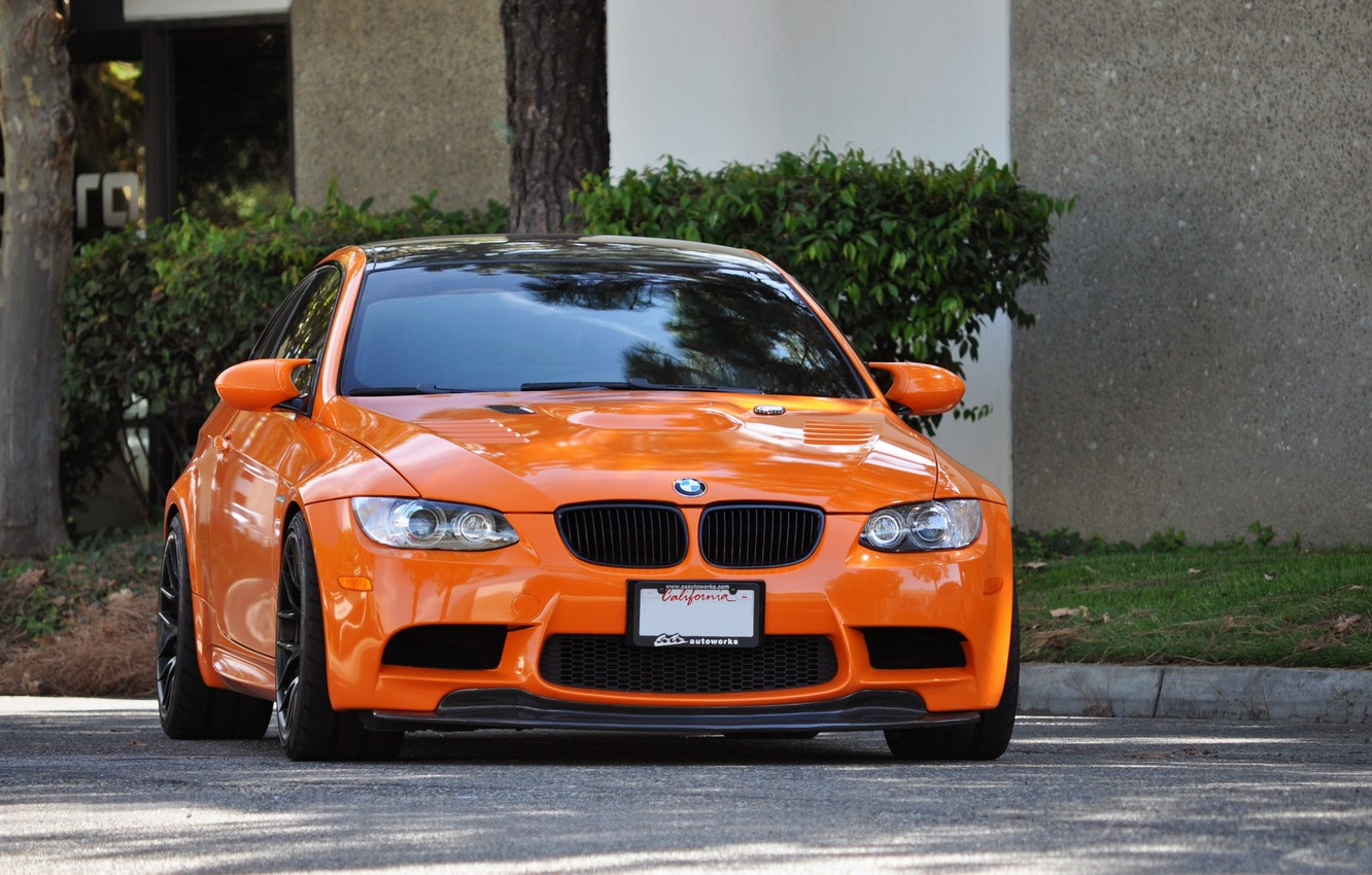 Photo wallpaper road, trees, orange, street, bmw, the bushes, the front, e92, the curb, orange.BMW