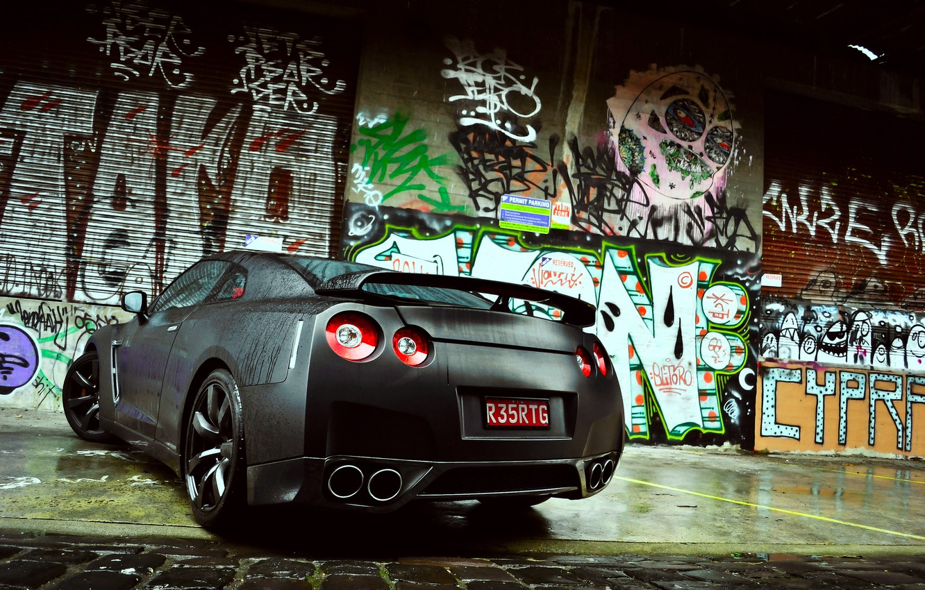 Photo wallpaper graffiti, wet, nissan, gt-r, back