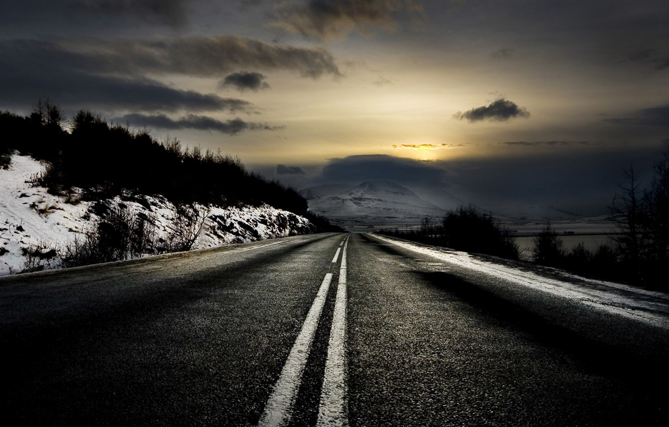 Photo wallpaper winter, road, dawn